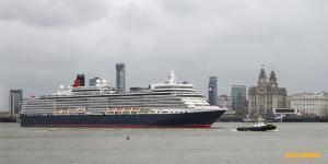 Queen Elizabeth arriving at Liverpool